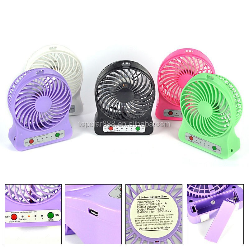 High Quality Plastic Led Light Usb Mini Fan Small Table