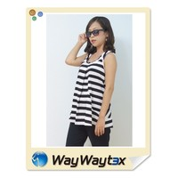 Hot Sales Summer Knitted Fabric Striped Sleeveless Woman Wear