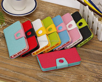 Protective Dual Color Button Wallet Leather Book Style PU Flip Case for iphone 6 Various Colors