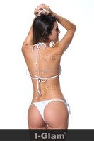 I-Glam Bikini Lingerie Thong String Brazilian Swimwear Tiny Micro White Bottom Sheer Top Beach Wear