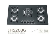 JH5203G Stainless steel Built-In/Flush mounted 5 burners cooking gas stove,kitchen range/oven/cooker units with tempered glass