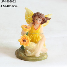 Yellow paillette artificial flower Fairy with wing
