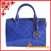 royalblue Ladies Hand Made cowhide leather boston bag with emboss logo