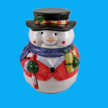 Hot holiday gift snowman Ceramic cookie chocolate candy jar