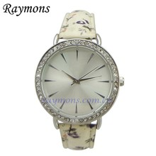 2015 Eco-friendly US EU certified flower pu wrist watch for women