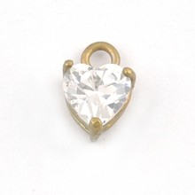 Pendant, Fashion Jewellery Cubic Zirconia Heart Brass Charm Gold Pendant, Pendant Jewelry Findings T647