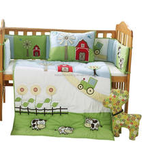 100% cotton embroidery soft boy Baby cot bedding sets/Baby crib bedding sets