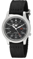 SEIKO MEN'S SNK809 SEIKO 5 AUTOMATIC BRAND NEW STAINLESS STEEL WATCH WITH BLACK CANVAS STRAP