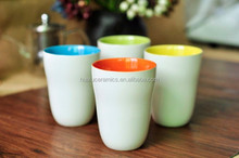 Hot Sale 10oz double color ceramic coffee mug without handle for Wholesale