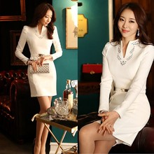 Fashion High Quality Spring Casual Women Clothes White/Black Office Lady's Long-Sleeve Dress With Belt SV003131