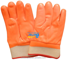 Safety Cuff Foam & Interlock Lined Red PVC Safety Glove China New Products