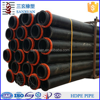 "6"" diameter black HDPE plastic pipe with free flanges"