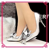 Silver mirror calf PU high heels shoes for women beautiful girls high heeled point toed pumps shoes