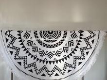 cotton velour reactive printed round towel beach