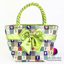 Handbags : Multi-Pattern Doll Tote Bags Size M With Front Ribbon And Twisted Fabric Handle , Cloth Purses , Ladies Handbags