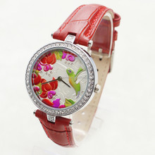 Genuine leather watch for women lady High Fashion colored wall