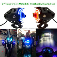 15W 3000LM Motorcycle LED Headlight U7 with Angel Eye Devil Eye Waterproof Spot Light led headlight bulb for motorcycles