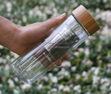 Promotional custom double wall glass tea infuser water bottle BPA free with bamboo lid & filter hot sale
