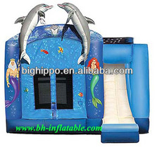 Inflatable blue dolphin bouncy castle with slide