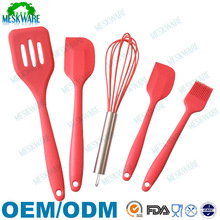 Premium quality wholesale silicone cooking utensil set of 5, silicone utensil set 5 piece