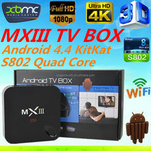 Google Smart tv box MX iii M82 Android 4.4 Quad Core Fully Loaded Kodi mx3 flash box