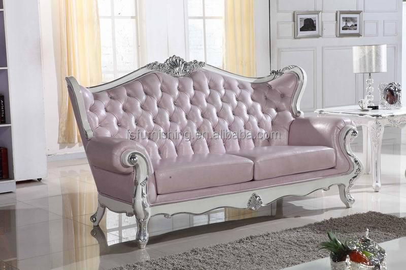 KB068 Luis XV pink pearl shine cuero blanco botón de cristal sofá ...