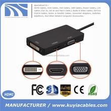 3 in1 Mini Display Port DP Thunderbolt to DVI +VGA +HDMI Adapter For MacBook