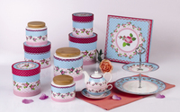 Wholesale STLNG02 Ceramic colorful Plate and teapot and cup in one with Canister Set