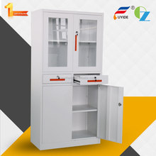 Customizable high quality adjustable shelves glass&steel door industrial metalic filing cabinet drawers