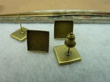 10x10mm Square Pad Antique Bronze Brass Cameo Cabochon Base Setting Earring Earposts c3206 charm