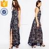Halter neck sheer floral lace women long maxi dress V neckline wrap to front wholesale