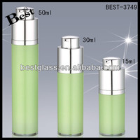 50ml plastic bottle acrylic colour paint , 30ml green arcylic cosmetic bottle with aluminum pump