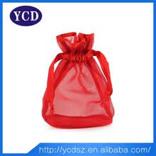 2015 recyclable red drawstring custom package bag