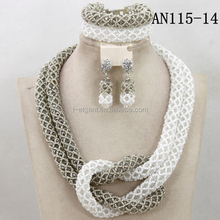 white and silver color fashion beads jewelry african hot sale beads jewelry sets for nigerian party