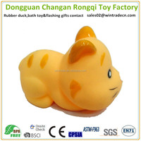 Rubber cat toy squeeze water farm animals for pets