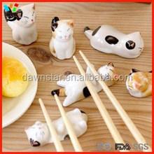 Cute Hand Made Chinese Ceramic Cartoon Cat, Panda, Rubblit & Dog Pattern Chopsticks Rest Knife Fork Holder