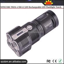 NITECORE TM26 4 XM-L2 LED 5 Mode Smart Display 3800Lm High Power Rechargeable LED Flashlight Torch