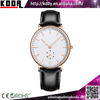 5 mm thickness sub-dials working 2 half hands stainless steel case back genuine leather band quartz men watches
