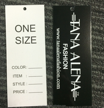 Hang tag type paper tags glossy paper with size and custom logo for cloth
