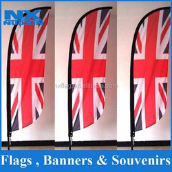 high quality printed polyester country England beach flag with fiber glass pole