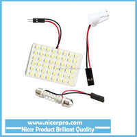 48 LED Auto Car Dome Festoon Interior Bulb Roof Light Lamp with T10 Adapter Festoon Base High Quality