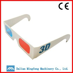 Custom logo cheap recycled red blue 3d paper glasses
