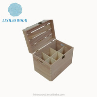 Retro classic wood carrier for wine,Promotional factory price cheap wood wine crates in china made