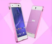 C3 Luxury Aluminum Ultra-thin Metal Bumper + PC Plastic Back Case Hard Back Cover for Sony Xperia C3