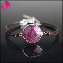 New Designer Leather Rope Rhodium Plated Alloy Wrapped Natural Round Agate Gem Stone Bracelets