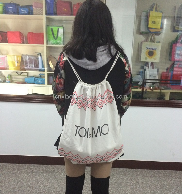 Customized promotional wholesale cotton fabric drawstring bag for kids