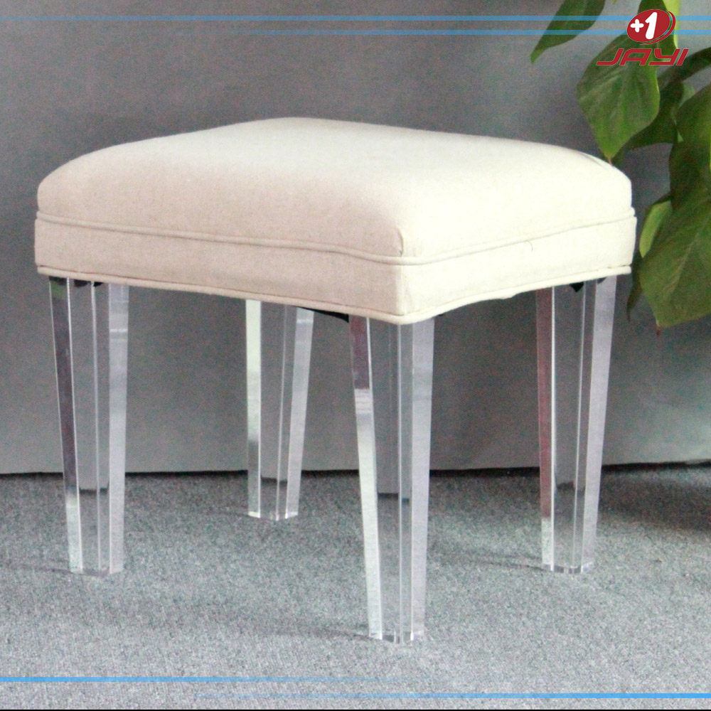 Clear Acrylic Vanity Square Lucite Stool Bench For Bedroom