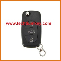 3 button modified folding flip remote key case shell for Audi A6 remote key case shell with Metal logo(can be seperate)