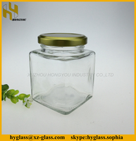 Clear square shape honey glass jar jam glass container wholesale
