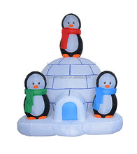 180cm/6ft high Christmas inflatable igloo and 3 pieces penguin inflatable decoration
